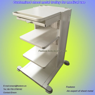 Carretilla médica de la chapa modificada para requisitos particulares para el carro del equipo del hospital